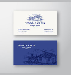 cabin in the woods abstract vintage logo vector image