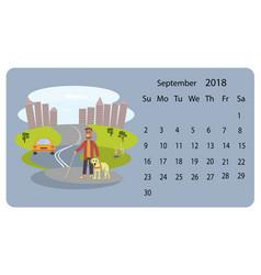Calendar 2018 for september vector