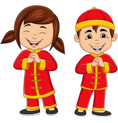 cartoon chinese kids wearing traditional costume vector image