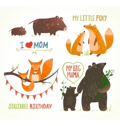 Cartoon forest animals parent with babirthday vector