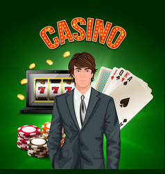 casino player realistic composition vector image