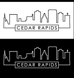 cedar rapids skyline linear style editable file vector image
