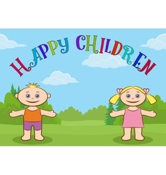 Children on Forest Glade vector