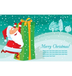 Christmas background with gift and Santa vector image