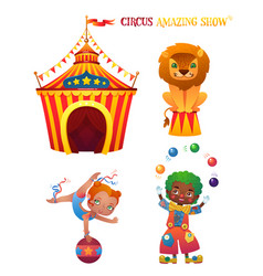 Circus cartoon characters vector