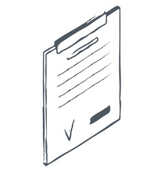 Clipboard for holding paper in place sketch draw vector