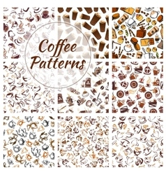 Coffee beans cups mills seamless patterns vector image