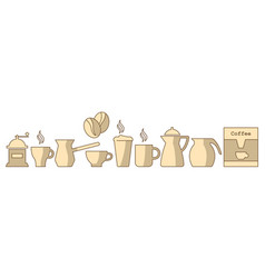 coffee set color vector image