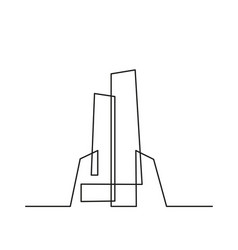 Continuous line drawing modern building vector