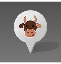 Cow pin map icon Animal head vector