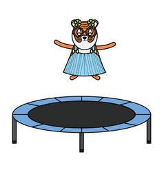 Cute female tiger in slastic trampoline vector