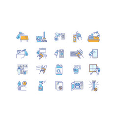 Disinfection rgb color icons set vector
