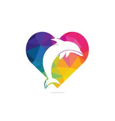 Dolphin love logo design vector