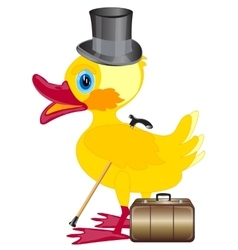 Duckling with cylinder on head and valise vector