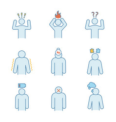 Emotional stress color icons set vector