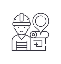 engineer and house plan line icon concept vector image