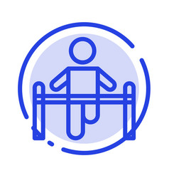 exercise gym gymnastic health man blue dotted vector image