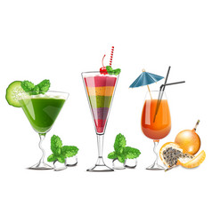 exotic fruits cocktails glasses isolated vector image