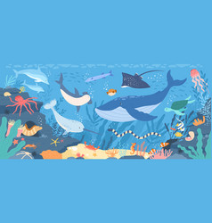 Fish and wild marine animals in ocean sea world vector