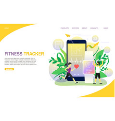 fitness tracker landing page website vector image