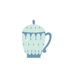 Flat ceramic crockery teapot decorated icon vector
