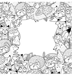 Forest animals black and white frame with place vector