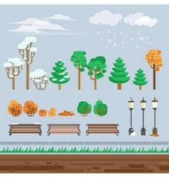 Game 2d winter landscape park background vector