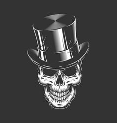 Gentleman skull wearing cylinder hat vector