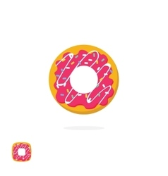 Glazed iced donut icon isolated on white vector image