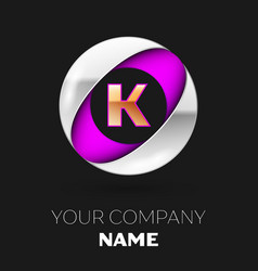 golden letter k logo in the silver-purple circle vector image