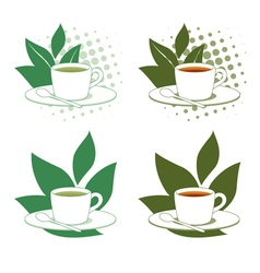 Green and Black Tea vector image