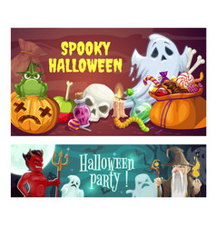 Halloween party sweets and devil wizard ghosts vector