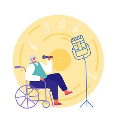 handicapped senior man sitting in wheelchair vector image