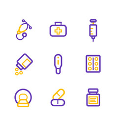 Healthcare hospital medical line icons vector