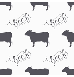 Hipster style cow seamless pattern Beef meat hand vector image