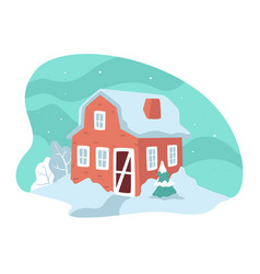 house with snowy rooftop winter landscape in vector image
