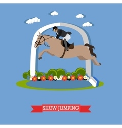 Jokey accomplishes a horse jumping design vector