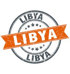 Libya red round grunge vintage ribbon stamp vector