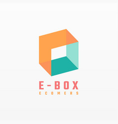 Logo box gradient colorful style vector