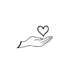Love heart in your hand health care concept vector