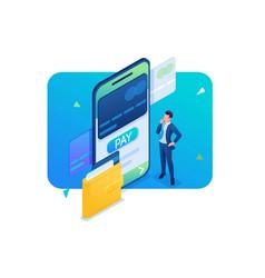 Man makes an online payment through a mobile app vector