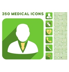 Manager icon and medical longshadow icon set vector