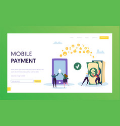 Mobile payment phone cash transfer landing page vector