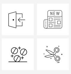 Modern line 4 simple line icons door vector