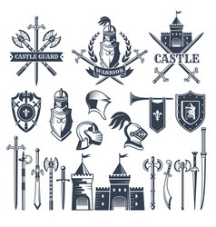 monochrome pictures and badges medieval knight vector image