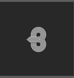monogram letter b logo design mockup parallel vector image