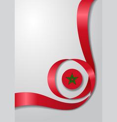 Moroccan flag wavy background vector