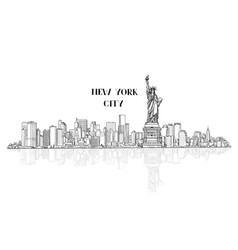 new york usa skyline city silhouette with liberty vector image