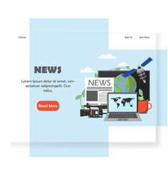 news website landing page design template vector image