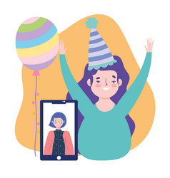 online party birthday or meeting friends vector image